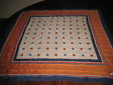"Lin Sun Ni Large Colorful Scarf 29"" Square Navy Terra Cotta Red Blue"