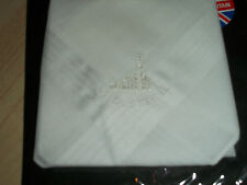 """LDS White Men's Handkerchief """"St Louis"""" Temple Embroidered Image made in England"""