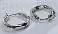 925 Sterling Silver ~ Square Tube~ Round ~ Twisted ~ Shiny~ Hoop Earrings