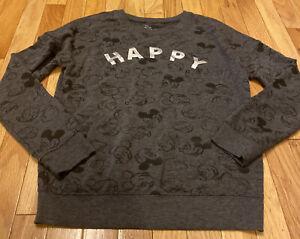Disney Mickey Mouse Sweatshirt Junior Size Small Gray Super Soft Happy