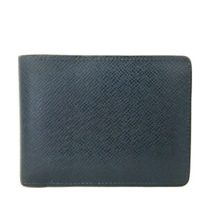 Louis Vuitton Taiga Navy Leather Multiple Bifold Wallet /E1029