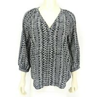 Joie Velarine Silk V-Neck Blouse Gray Black 3/4 Sleeve Shirt Top Size: Small