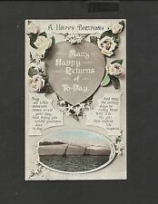 Vintage Greeting Postcard birthday Many happy Returns or To-day Posted 1906