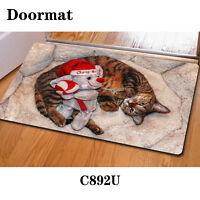 Decor Christmas Cat Doormat Floor Area Rug Anti-skid Bath Mat Welcome Indoor