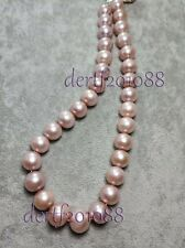 """15.5-12MM Pink South Sea Pearl Gemstones Bead 14k Clasp Necklace 18"""" AAAA"""