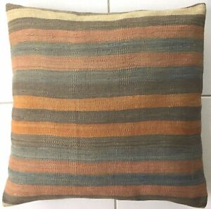 Kelim Kissen Vintage Alt Nomaden Handgewebt Grau Orientalisch Old Pillow Cushion