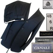 CANALI PINSTRIPE 2VENT 3BUTTON TAILORED FIT NAVY WOOL SUIT ITALY EU48 US38 DROP6