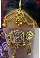 BriDAL gold maang tikka head piece matha patti armlet arm let hair jewelry INDIA
