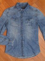 AllSaints Men's Blue VALKYRIE Denim Shirt Medium