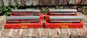4 Tri-ang Silver Red R440 Coach R441 Observation R442 Baggage & R443 Diner Cars!