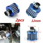 Universal 12Mm 2Pcs Blue Air Intake Crankcase Vent Valve Cover Breather Filter