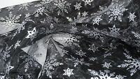 Christmas Black Snowflake Sheer Organza Fabric Xmas Voile Wedding Decor Material