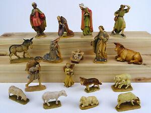 Weihnachtskrippe Holz geschnitzt 17-tlg., Krippenfiguren Holz 11cm, Südtirol