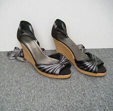 New Look Black & Grey Satin Effect Wedge Sandals Ribbon Ankle Strap Size 8/41