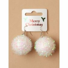 1322 Pair of White Christmas Snowball Earrings Pierced Dangling Novelty Party