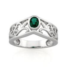 9ct White Gold Created Emerald Filigree Dress Ring.