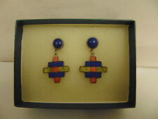 Stunning, Collectable, 925 Silver, Mosaic Cross Earrings