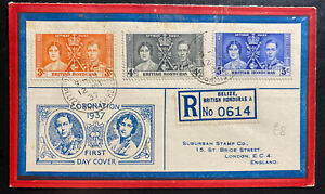 1937 Belize British Honduras First day cover To UK Coronation King George VI KG6