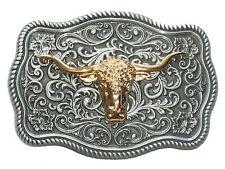 Western Artistic GOLD PEWTER LONGHORN BULL BELT BUCKLE Texas Cowboy Gift