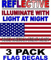 3 PACK - MAKE AMERICA GREAT AGAIN-REFLECTIVE American Flag USA Decal - PATRIOTIC