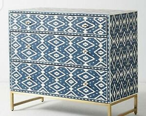 Antique White and Blue Ikat Inlay Chest Of Drawer, Wooden and Inlay Chest Drawer