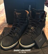 Saint Laurent YSL Fringed Black Suede hi-top Sneaker shoes boots Sz 43 US10 $795