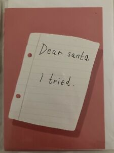 Christmas Holiday Card Dear Santa I Tried Funny Joke Cute Pink New