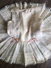 Vtg 1960s MARY QUANT Style PINK Toddler LACE PARTY Dress Embroidered BOUTIQUE
