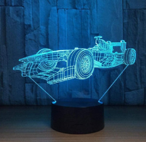 Formula 1 Racing Car 3D LED Illusion Night Light 7 Colours Desk Bedside Lamp