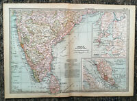 Antique Map Of India Southern Ceylon Madras Bombay Malay  1903