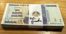 ZIMBABWE 100 * $10 Billion banknotes -100 pcs HIGH GRADE XF+ (Trillion series)