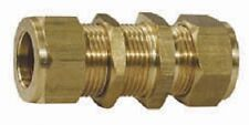 "Wade Brass Compression Fitting 5/16"" x 3/8"" Bulkhead Coupling. Copper Olives"