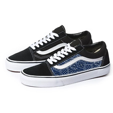Vans Black Old Skool x Blue Bandana Pattern Custom Handmade Shoes By Patch Colle