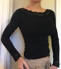 WET SEAL Sexy Fitted Black Shirt/Top Sequins/Lace Long Sleeve Ruched - Small EUC