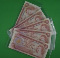5  -  Uncirculated  -  Consecutive  - 1974   $2.00  Canadian Banknotes