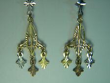 Chandelier Filigree Trinity Knot Dangle Earrings Gold 14 Kt Yellow Rose White