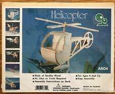 Wood Helicopter Kit A604 Woodcraft Easy No Glue or Tools Required Ages 6+