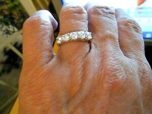 Ring Wedding Band 10k Diamonds  1ct White Gold Size 7