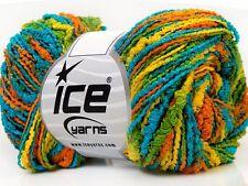 Ice NUBBY Yarn Turquoise Green Yellow Orange 33620 FUN TEXTURE 50 Grams