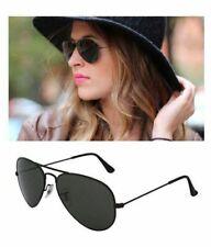 Ray Ban Aviator Black Sunglasses W/ Green Lens G-15 RB3025/58mm-Original-L2823