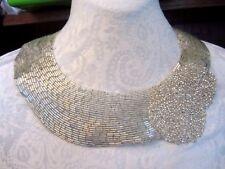 ***FULL COLLAR - BEADED - HOOK BACK*** Applique Necklace SILVER  ***AMAZING***
