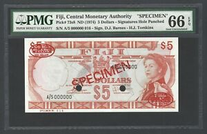 Fiji 5 Dollars ND(1974) P73s8 Specimen Uncirculated Grade 66