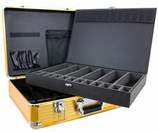 Gold Large Barber Travel Clipper Trimmer Case For Andis, Wahl, Oster By Vincent