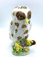 Vintage OWL 1980's porcelain Figurine Brown White 8Inches Tall EUC