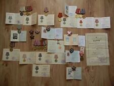 Soviet Medals RED STAR documents USSR Order Award WWII Two Person Married