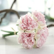 15 Heads 5 Branches Artificial Rose Silk Flower Bouquet Bunch Wedding Home Decor