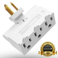 Fosmon [ETL Listed] Grounded Swivel 3 Outlet Indoor Wall Tap Power Strip Adapter