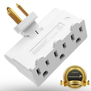 [ETL Listed] Grounded Swivel 3 Outlet Indoor Wall Tap Power Adapter AC Plug Mini