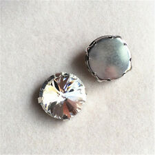 36pcs 16mm Sew On round foiled rhinestone crystal bead point back glass y-pk