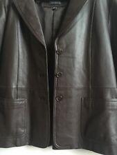 Women Rem Garson Leather 3 Button Jacket size 12 dark Brown in perfect condition